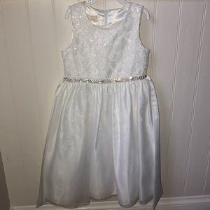 Girls special occasion white dress with sash